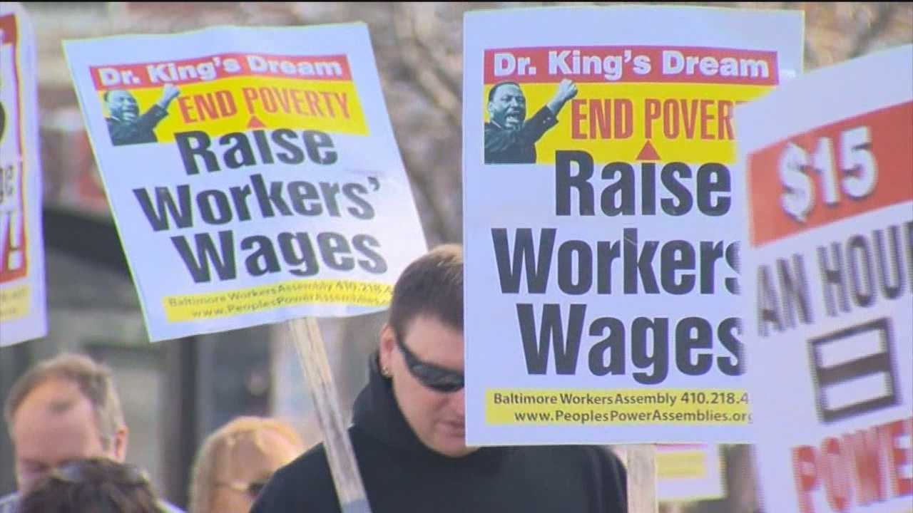 Officials, workers rally for minimum wage hike