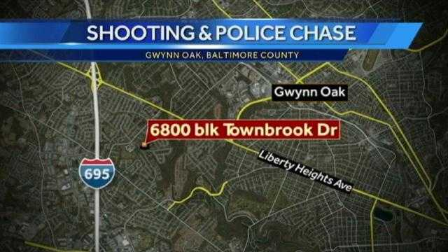 Gwynn Oak police chase map