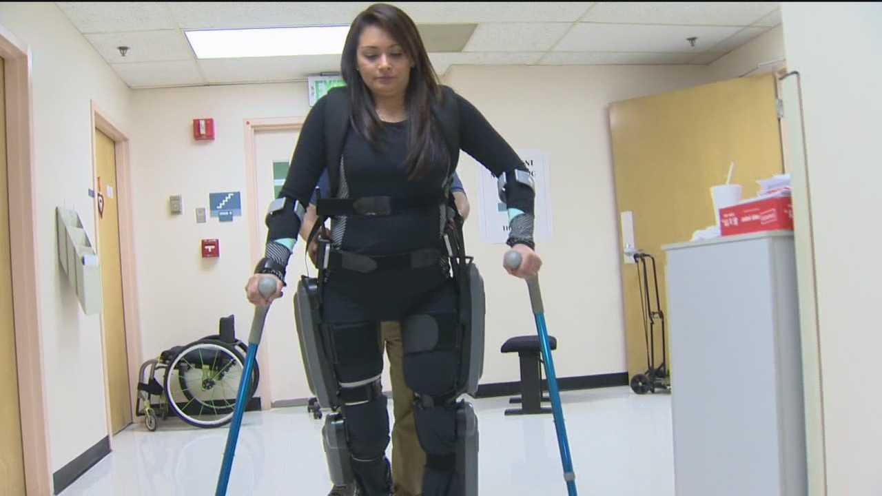 img-UMd robotic exoskeleton helps paralyzed woman walk