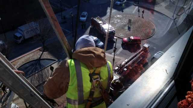 Photo taken of the rescue from the eighth floor of the Hopkins outpatient building.