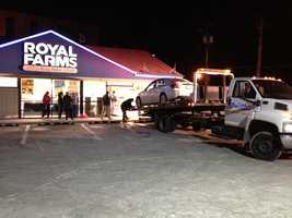 Baltimore County police said emergency crews were called around 6 p.m. to the Royal Farms store in the 600 block of Southwick Drive, where the car had driven through the front door.