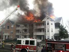 The 7 Oaks apartment complex goes up in flames in Odenton on March 7.