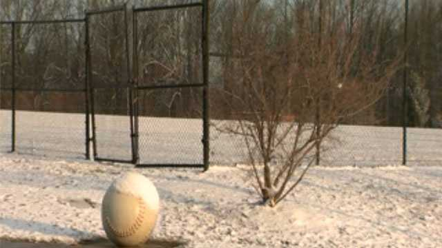 snow-covered baseball field