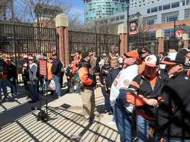 Early arrivals at Oriole Park at Camden Yards