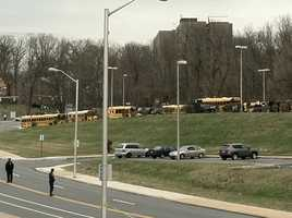 Buses lined up to take students and staff to Baltimore Polytechnic Institute.