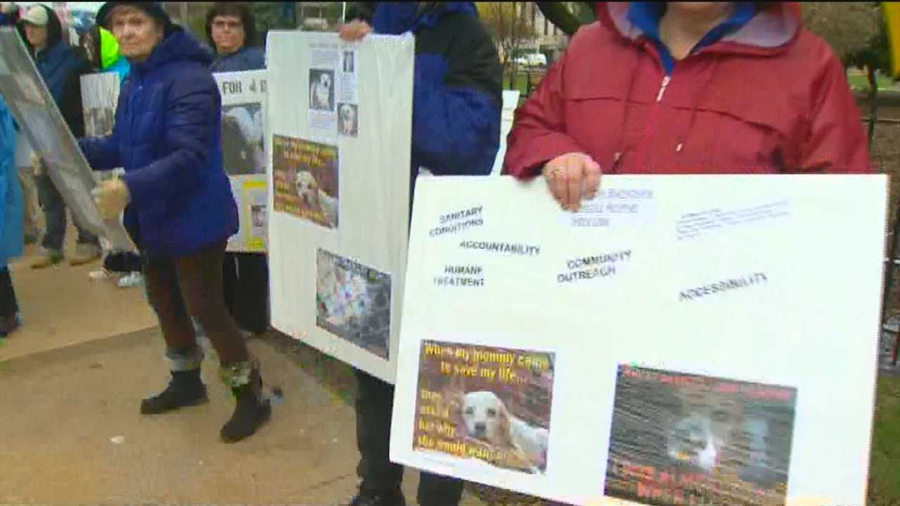 Protesters decry conditions at Animal Control facility