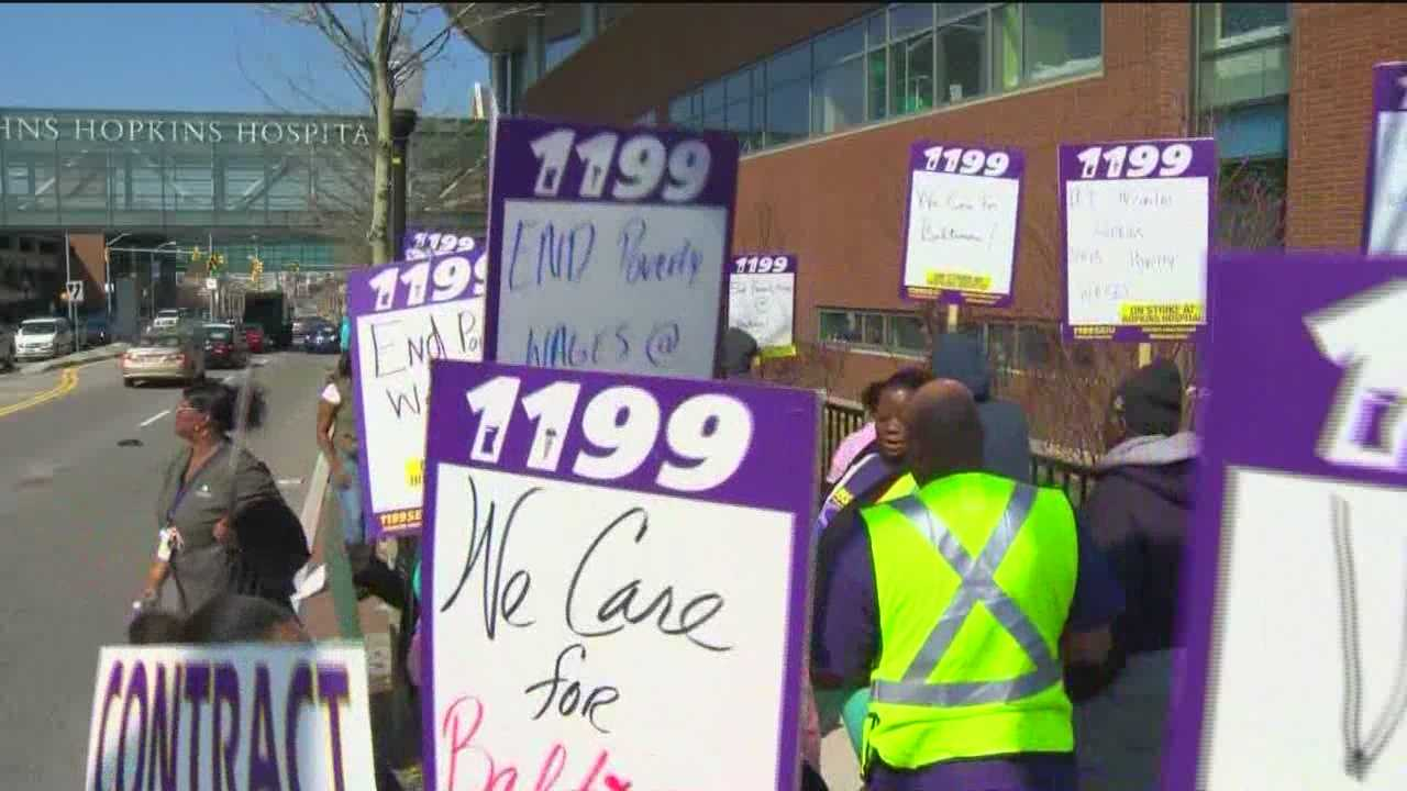 Some Johns Hopkins Hospital employees strike