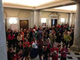 April 14: Governor bill signing crowd in hallway.