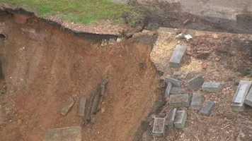 SkyTeam 11 captured video of the huge mudslide at Western Cemetery.