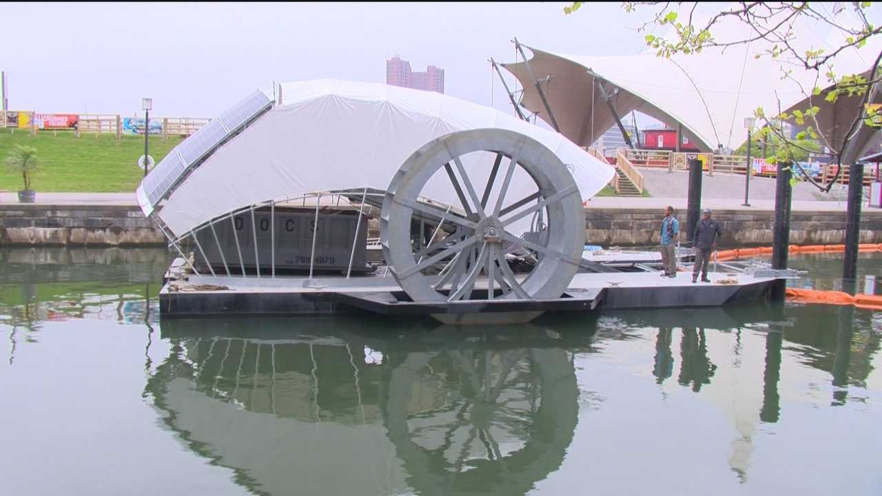 City's new water wheel to make Inner Harbor swimmable
