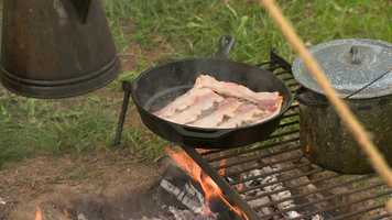 Mark Cardinal cooks some of the best bacon around over an open flame and has a fully stocked pantry.