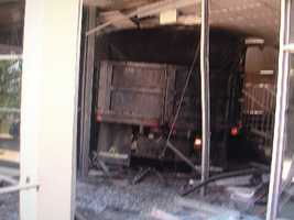 This is a close-up photo of the truck that crashed into WMAR-TV's building.