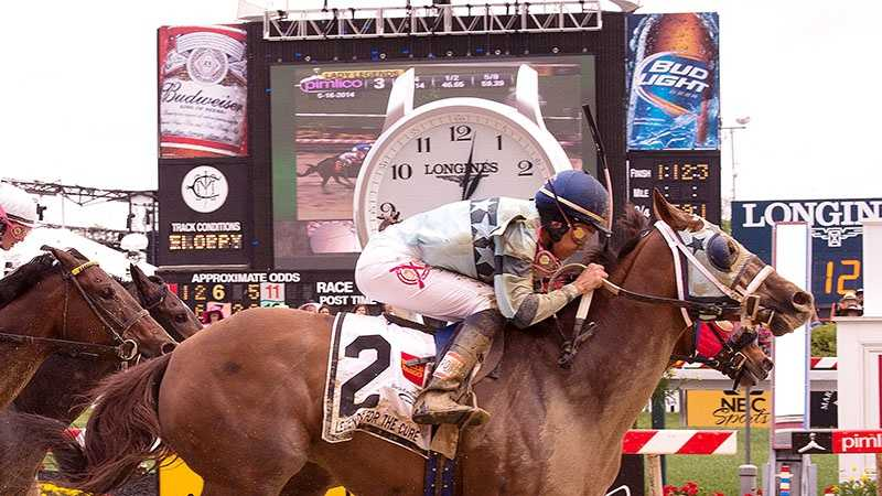 May 16: Zuerstgold comes flying on the outside to win the Lady Legends for the Cure V on Friday at Pimlico Race Course.