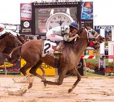 May 16:Zuerstgold comes flying on the outside to win the Lady Legends for the Cure V on Friday at Pimlico Race Course.