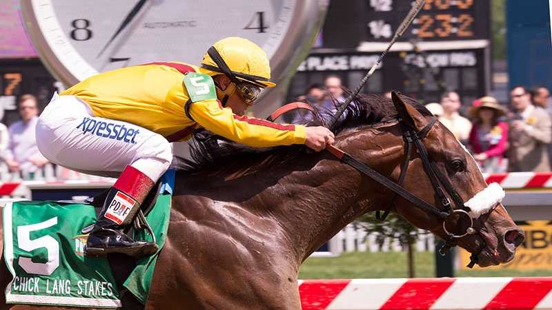 May 17: Meadowood breaks alertly, backs off the hot pace and then resurges in the stretch to win the $100,000 Chick Lang Stakes for 3-year olds Saturday at Pimlico.