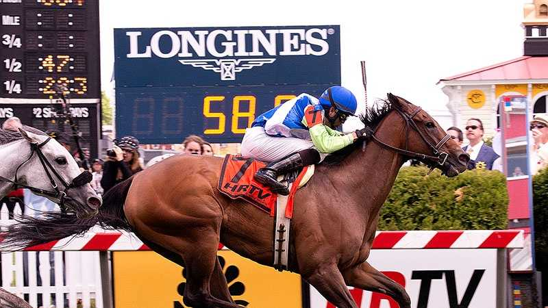 May 17: Lael Stables' Ageless had to wait behind horses until room opened along the fence in the stretch, then dashed through an opening to win The Very One Stakes.