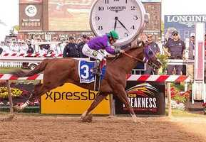 May 17:California Chrome crossing 139th Preakness finish line