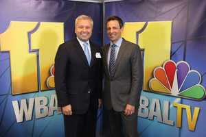 WBAL-TV 11 President and General Manager Dan Joerres with Seth Meyers.