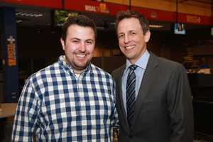Seth Meyers with one of WBAL-TV 11 News' morning producers.