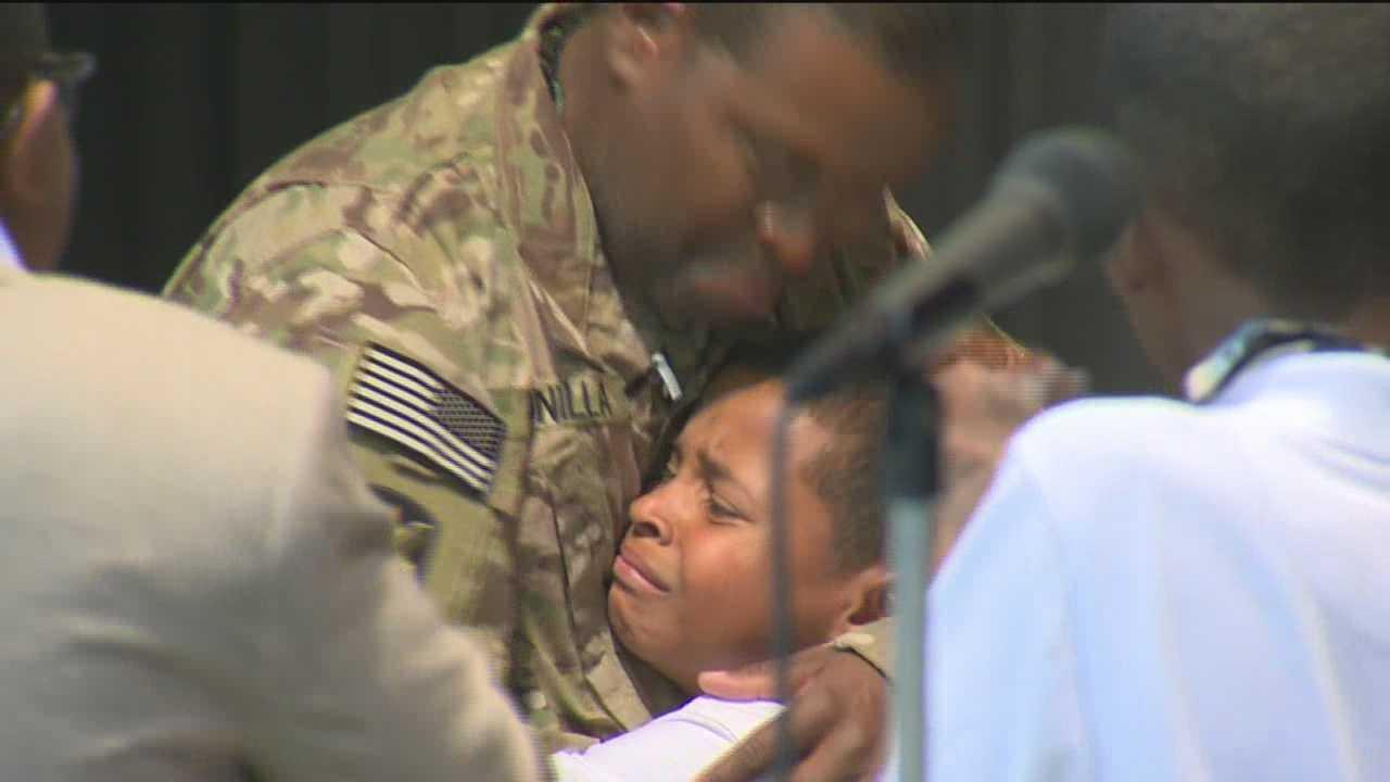 Pikesville soldier returns homes, surprises son at talent show