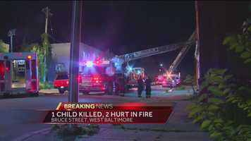 One child died and one other was seriously injured early Monday morning in a fire that consumed a west Baltimore house.