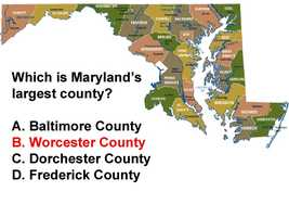 Maryland's largest county, Worcester County, spans695 square miles. Howard County is the smallest county with 254 square miles. Baltimore City is 92 square miles.
