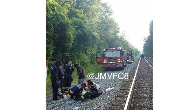An 18-year-old male fell from a train Sunday evening.