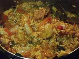 Megan's favorite dish to cook is jambalaya.