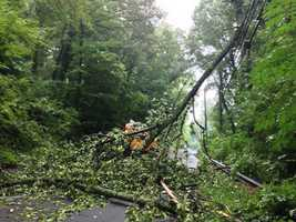 Storms that moved through central Anne Arundel County left behind damage in areas like Crownsville.