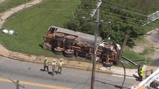 Patapsco Avenue crash - overturned truck