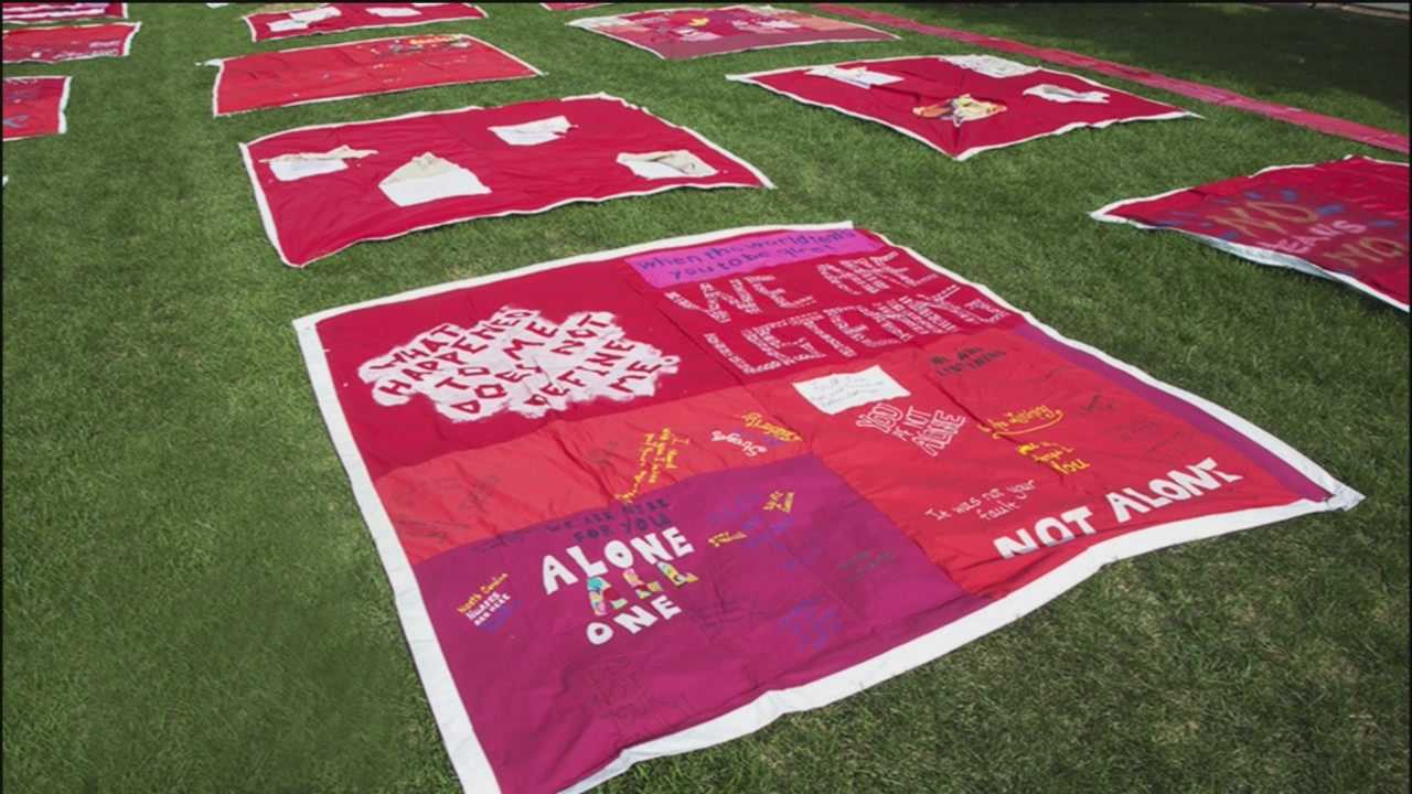 Quilt patched together by survivors of sexual assault