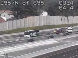 A bus fire backed up traffic on southbound Interstate 95 in White Marsh Friday afternoon.