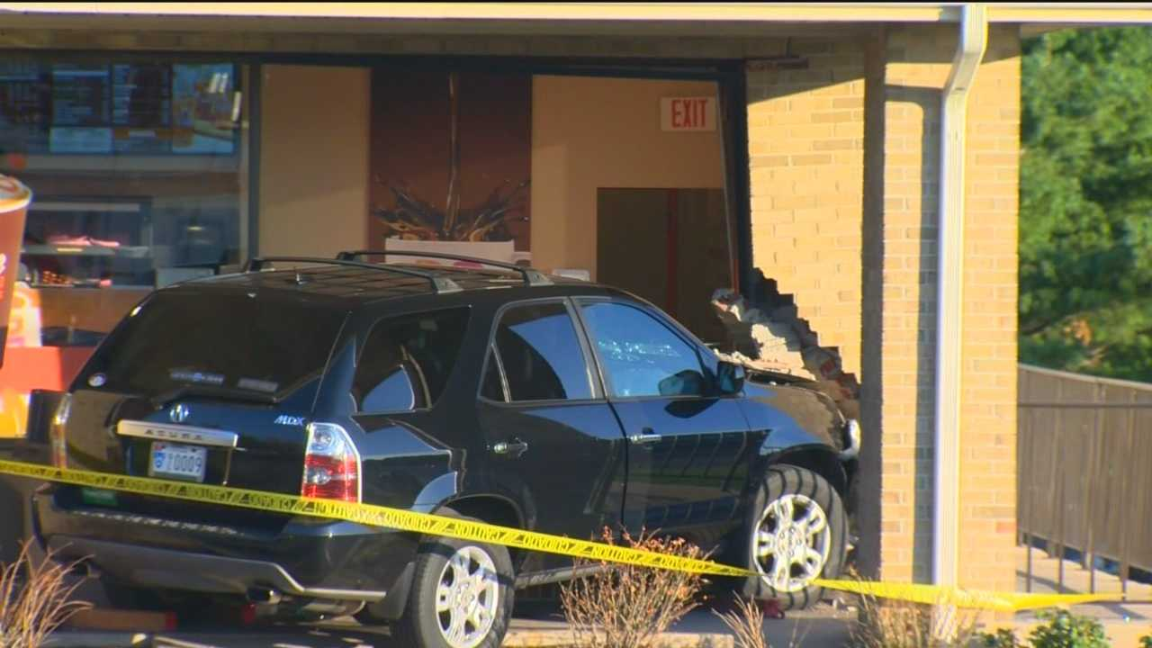 A car crashed into a Dunkin' Donuts in Ellicott City injuring three people.