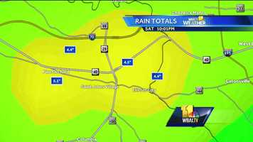 As much as 4 to 5 inches of rain fell in a couple hours in much of Howard County, causing flooding in some areas.
