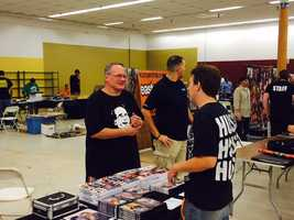 """Legendary pro wrestling manager Jim Cornette talks with fans during the MCW Tribute to the Legends convention in Joppa. """"We didn't get to have this type of interaction with the fans back in the 1980s. This is an amazing experience,"""" Cornette said."""