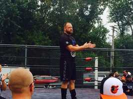 MCW wrestler R.J. Meyer, aka The Bruiser, begins a training demonstration during the Tribute to the Legends convention in Joppa.