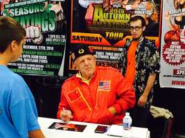 WWE Hall of Famer Nikolai Volkoff, of Glen Arm, meets with fans during the Tribute to the Legends convention in Joppa.
