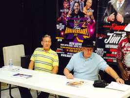 """WWE Hall of Famers """"Mr. Wonderful"""" Paul Orndorff and """"Cowboy"""" Bob Orton were on the same team for the main event during the inaugural Wrestlemania in 1985. The pair reunited for the MCW Tribute to the Legends convention in Joppa."""