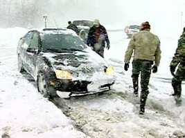 People in Harford County try to get around despite the treacherous conditions.