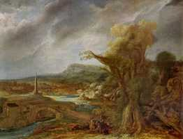 Govaert Flinck, Landscape with an Obelisk, 1638 Oil on oak panel, 54.5 x 71 cm inscribed faintly at the foot on the right: R. 16.8 (until recently attributed to Rembrandt)