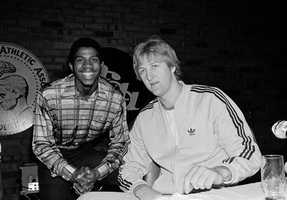 Magic Johnson, of Michigan State, and Larry Bird of Indiana State on March 25, 1979 before the final game in the NCAA Championships