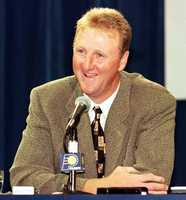 Larry Bird appears at a press conference to introduce him as the new head coach of the Indiana Pacers.