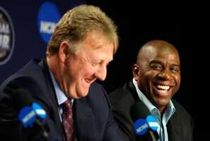 Larry Bird and Magic Johnson answer questions during a news conference to relive their 1979 NCAA Championship Game on April 6, 2009 in Detroit.