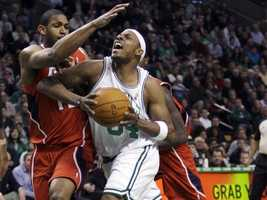 In April, 2008, Pierce was fined $25,000 by the NBA for an alleged menacing gesture during a playoff game against the Atlanta Hawks. Some claimed it was a gang-related hand sign, but Celtics manager Danny Ainge said it was team sign language and Pierce denied it, saying his foundation was committed to helping urban youth keep away from gangs.