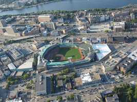 A wider view of the area around Fenway Park.