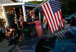 Crowds line up to order seafood at The Bite, a popular destination, in Menemsha.