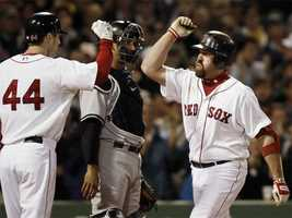"""Known for his ability to get on base, Youkilis was dubbed """"The Greek God of Walks"""" in the book Moneyball: The Art of Winning an Unfair Game."""