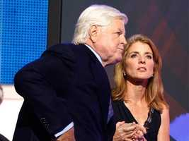 Caroline Kennedy with her uncle Sen. Edward Kennedy during his appearance at the Democratic National Convention.