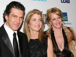Caroline Kennedy with actors Antonio Banderas and Melanie Griffith at a movie premiere in New York, April 4, 2006.