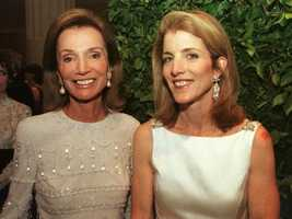 Lee Radziwill, sister of Jacqueline Kennedy, poses with Caroline Kennedy April 23, 2001 at the Metropolitan Museum of Art in New York City.